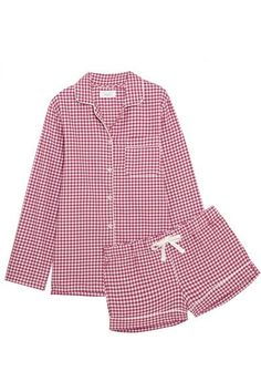 Three J NYC's 'Phoebe' pajama set is printed with a classic red and white checked pattern. Cut for a relaxed fit, the comfortable shirt is detailed with contrasting piping, while the matching shorts have a flexible drawstring waist. Wear yours on cozy nights at home.