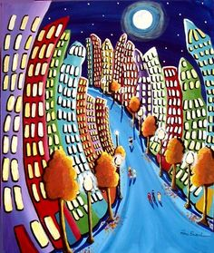 Autumn Cityscape Fun Funky City NYC Whimsical Folk Art Original Colorful Painting. $149,00, via Etsy.