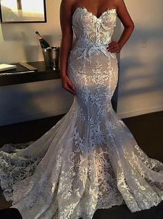 Custom Made Absorbing Wedding Dress With Appliques, 2019 Wedding Dress, Mermaid Wedding Dress 2019 Brautkleid, Meerjungfrau Brautkleid, Brautkleid Mit Applikationen Tulle Wedding, Dream Wedding Dresses, Mermaid Wedding, Bridal Dresses, Wedding Gowns, Prom Dresses, Ivory Wedding, Wedding Dresses With Bling, Wedding Venues