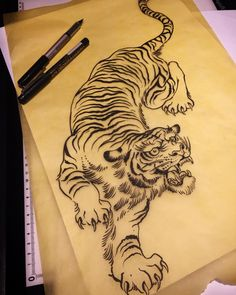 "168 Likes, 10 Comments - Will DOZER (@will_dozer) on Instagram: ""Tiger drawing ready to go - good for thigh, ribs, belly etc.. wdozer666@gmail.com if you want it…"""