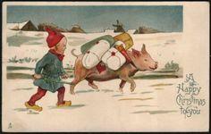 Vintage Christmas Postcard Pig Gnome Boy Elf Elve Presents Picture