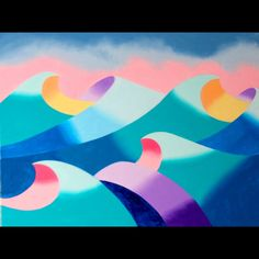 """Mark Webster - Abstract Geometric Ocean Seascape Oil Painting. 9x12"""" Oil on Canvas Panel.   