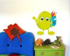 Amazing Buntes Wandtattoo Monster mit Rucksack Monster mit Rucksack Wandtattoo in einer Breite ab cm