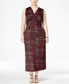 NY Collection Plus Size Knot-Front Printed Maxi Dress | macys.com