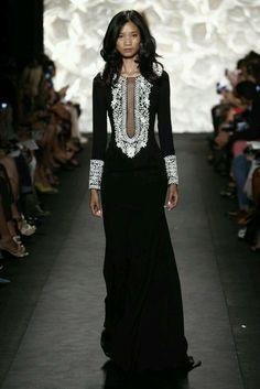 Naeem Khan velour long sleeved dress with Indian inspired design
