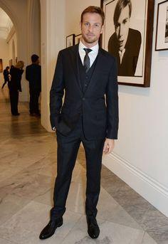 Jenson Button 3 piece suit tie full windsor knot
