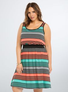 Striped Banded Tank Dress