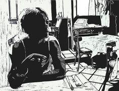 """Waiting for Coffee"" linocut by Mark Rowden. http://www.wingedlionpress.com.au/"