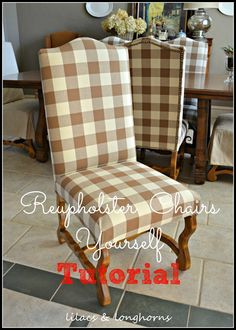 Save tons of money by reupholstering your own chairs.  This tutorial shows you how in a few simple steps.