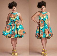 robe-africaine-wax-robe-d'été-de-tous-les-jours-bleu-et-beige-sandales-jaunes