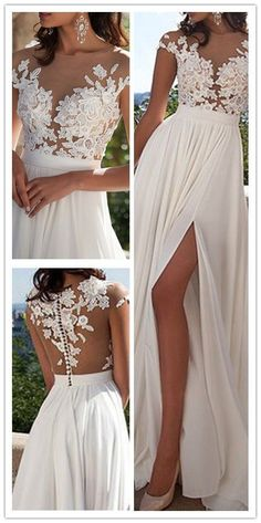 Ivory Lace Beach Wedding Dresses,Front Slit See Through Wedding Dress,Cap Sleeves Wedding Gowns,High Quality Bridal Wedding Dress,Custom Made Wedding Dresses #weddingdress