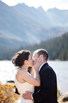 Real Weddings: Daniel & Kellie's Colorado Wilderness Elopement- LOOOVE her hair!