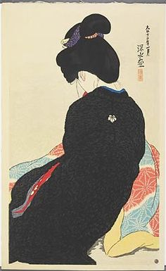 "Shinsui Ito, ""Tears for a Lover"". Love the sense of loss in the lines of her bent back."