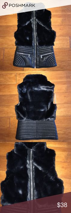 "♠️Guess faux fur/leather Moto vest♠️ Guess Faux Fur/Leather Moto zippered vest. Very cute faux fur on top half , faux leather on bottom with two zippered pockets on front. Very cute lining with guess logo. Worn once. ✨EUC✨ will fit XS-Sm🤗 17"" across chest zipped up and 22"" in length.✨reasonable offers only please✨ Guess Jackets & Coats Vests"