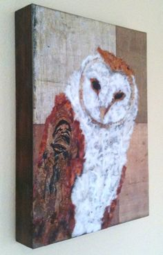 Beautiful Barn Owl created from hand torn fine Japanese and Thai paper--WOW!