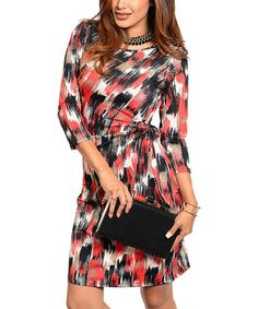 Another great find on #zulily! Black & Red Abstract Side-Tie Dress #zulilyfinds