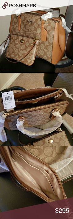 """NWT Coach Signature Mini Christie Bag & Wristlet New in original packaging, authentic Coach Mini Christie Signature Carryall. Saddle leather & khaki coated signature canvas. Dual zip-top closure with magnetic closure in center. Inside zip, cell phone & multifunction pockets.Fabric lining. Leather handles have a 9"""" drop. Long matching detachable leather strap has a 22"""" drop for shoulder or crossbody wear. Gold-tone hardware. Includes a matching Coach Signature wristlet with single zip top…"""