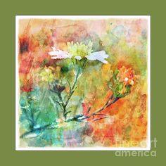 Tiny Wildflowers - Digital Paint IIi Green Frame Debbie Portwood prints available on Fine Art America