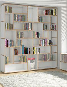 Buy online Hanibal By tojo möbel, open modular mdf bookcase design FLOID Product Design Library Bookshelves, Bookcase Shelves, Built In Bookcase, Low Shelves, Storage Shelves, Bookcases, Shelf Furniture, Home Furniture, Modular Shelving