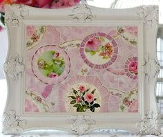 Large Romantic Pink Mosaic Footed Tray