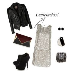 Look moderno con lentejuelas, biker jacket y botines! by blogabrilmoda, via Polyvore