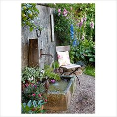 GAP Photos - Garden  Plant Picture Library - Seat near rustic water feature - GAP Photos - Specialising in horticultural photography