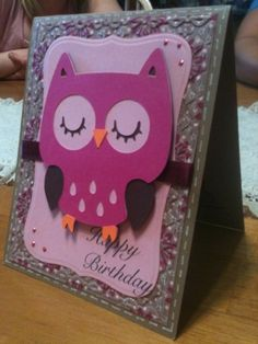 Cute owl birthday card using the create a critter cricut cartridge.