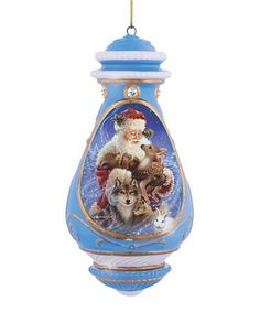 Look what I found on #zulily! Blue Santa With Animals Porcelain Ornament #zulilyfinds