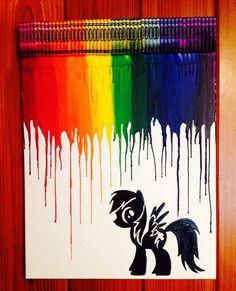 Little pony rainbow dash melted crayon art by OnceUponACrayon, $45.00