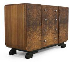 French Walnut Art Deco Sideboard