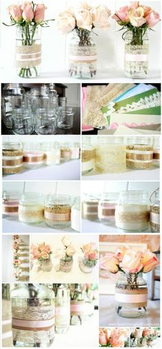 Recycled Jars Lace Votive and Vases: - 100 DIY Vases or Centerpiece – Unique Ways to DIY Your Vases