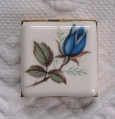 Vintage Blue Rose Pillbox by vintagous on Etsy, $20.00