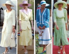 royal roaster:   Diana in wide brim hats and pleated skirts by Catherine Walker, late 1980s