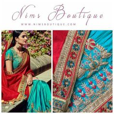 Maharani Silk Blue & Red Royal Sari and Blue Embroidered unstitched blouse
