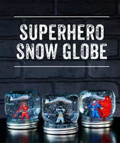 Globe (easy craft idea) Superhero Snow Globe - what a fun craft project! Perfect for superhero fans of all ages.Superhero Snow Globe - what a fun craft project! Perfect for superhero fans of all ages. Crafts For Boys, Crafts To Make And Sell, Easy Crafts, Arts And Crafts, Easy Diy Gifts, Sell Diy, Snow Globe Crafts, Diy Snow Globe, Snow Globes