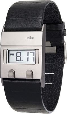 c42133ad8ba Braun Mens Black Leather Band Silver Digital Face Wrist Watch Time Piece  -BN0076