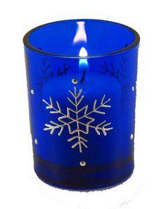 Cobalt Blue Wth Snowflakes Votive Candle Holder | Winter Party Decorations