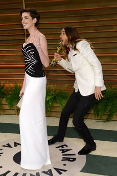 Anne Hathaway and Jared Leto - 2014 Vanity Fair Oscar Party, March 2nd