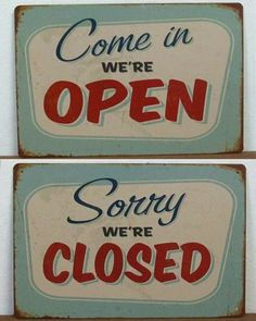 "2X Tin Metal Signs ""Open Closed"" Bar Cafe Shop Vintage Old Time Feel Door Decor 