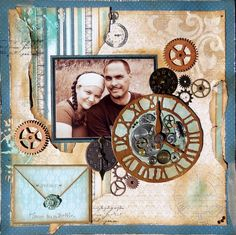 Scrapbook Page Layouts, Scrapbook Cards, Mixed Media Scrapbooking, Somewhere In Time, Steampunk, Projects To Try, Gallery Wall, Retro, Bottle