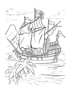 Free printable pirate coloring pages for kids. Color this online pictures and sheets and color a book of pirate coloring pages. Peter Pan Coloring Pages, Bug Coloring Pages, Pirate Coloring Pages, Disney Coloring Pages, Coloring Sheets, Coloring Books, Pirate Island, Drawing Sketches, Drawings