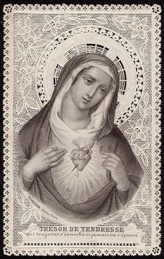Beautiful antique mary holy card