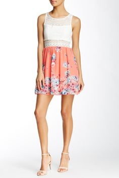 Trixxi - Crochet Top Woven Dress (Juniors) at Nordstrom Rack. Free Shipping on orders over $100.