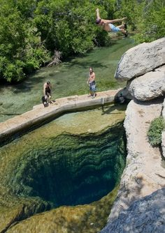 Visit one of the best swimming holes in America - Jacob's well in Wimberley,Texas.
