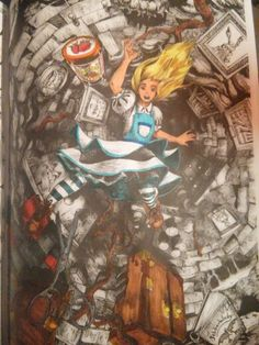 Alice's Nightmare in Wonderland coloring book, pg 4 partly finished