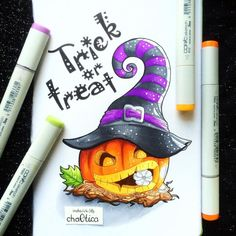 Ideas Art Drawings Sharpie Watercolors For 2019 Halloween Illustration, Pen Illustration, Cool Art Drawings, Art Drawings Sketches, Easy Drawings, Copic Kunst, Copic Art, Fröhliches Halloween, Halloween Drawings