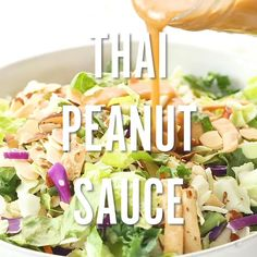 Ridiculously easy thai peanut sauce recipe that's slightly spicy, made in the blender and doubles as a dressing. Add to stir-fry, noodles, salads and satay! Make it a little thicker and it's a perfect dip for spring rolls. Easy Thai Peanut Sauce, Thai Peanut Noodles, Spicy Thai Noodles, Peanut Butter Sauce, Satay Sauce Easy, Chicken In Peanut Sauce, Peanut Sauce Recipes, Spicy Chicken Salad Recipe, Sushi Recipes