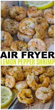 Air Fryer Lemon Pepper Shrimp are easy, healthy and delicious. This is also a We… Air Fryer Lemon Pepper Shrimp are easy, healthy and delicious. This is also a Weight Watchers friendly recipe with only 1 Freestyle point per serving. Air Frier Recipes, Air Fryer Oven Recipes, Air Fryer Dinner Recipes, Air Fryer Recipes Shrimp, Air Fryer Recipes Meatballs, Air Fryer Recipes Appetizers, Air Fryer Cooking Times, Cooks Air Fryer, Seafood Recipes