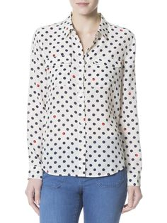 Sanctuary silk tailored BF Shirt with polka dots at Marketplace on Broadway