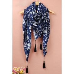 Chic Tiny Floral Print Fringe Decorated Scarf For Women
